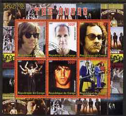 Congo 2007 The Doors (pop group) perf sheetlet containing 6 values fine cto used