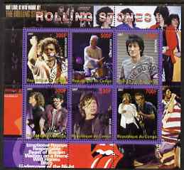 Congo 2007 The Rolling Stones perf sheetlet containing 6 values fine cto used