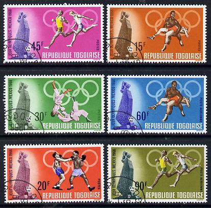 Togo 1968 Mexico Olympic Games set of 6 cto used SG 603-608