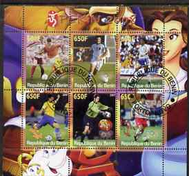 Benin 2007 Beijing Olympic Games - Football perf sheetlet containing 6 values (Disney characters in background) fine cto used