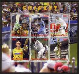 Benin 2007 Cricket perf sheetlet containing 6 values fine cto used