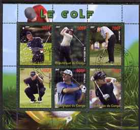 Congo 2007 Golf perf sheetlet containing 6 values fine cto used , stamps on sport, stamps on golf