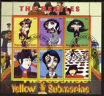 Benin 2007 The Beatles - Yellow Submarine perf sheetlet containing 6 values fine cto used