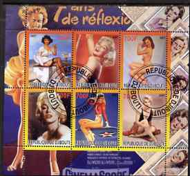 Djibouti 2007 Pin-ups (Marilyn Monroe) perf sheetlet containing 6 values fine cto used