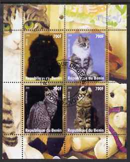 Benin 2008 Domestic Cats #1 perf sheetlet containing 4 values fine cto used