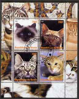 Benin 2008 Domestic Cats #2 perf sheetlet containing 4 values fine cto used