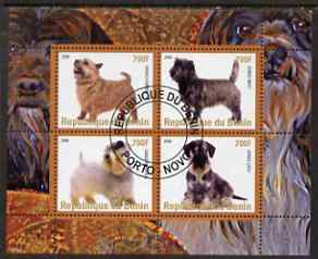Benin 2008 Dogs #1 perf sheetlet containing 4 values fine cto used