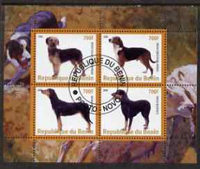 Benin 2008 Dogs #2 perf sheetlet containing 4 values fine cto used