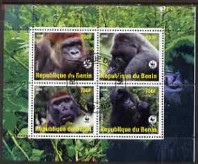 Benin 2008 WWF - Gorillas perf sheetlet containing 4 values fine cto used