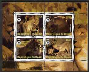 Benin 2008 WWF - Lions perf sheetlet containing 4 values fine cto used
