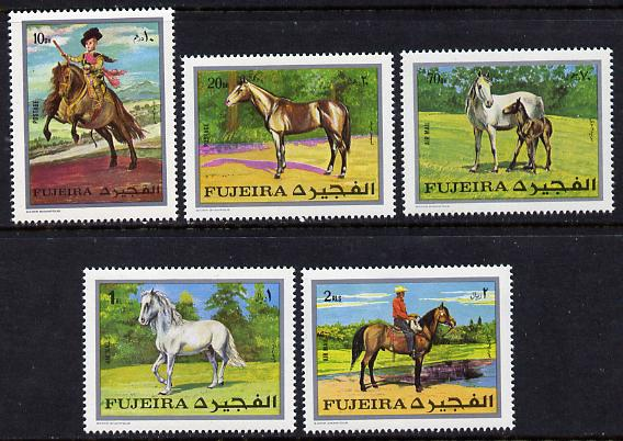 Fujeira 1970 Horses perf set of 5 (Mi 582-6A) unmounted mint
