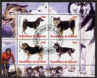 Djibouti 2008 Dogs #1 perf sheetlet containing 4 values fine cto used