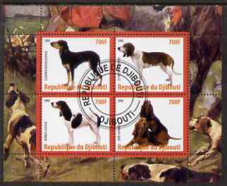 Djibouti 2008 Dogs #4 perf sheetlet containing 4 values fine cto used