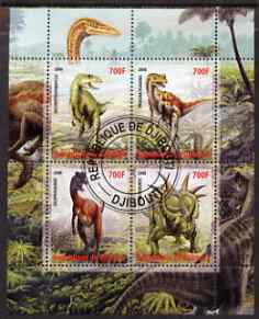 Djibouti 2008 Dinosaurs perf sheetlet containing 4 values fine cto used