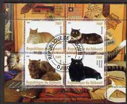Djibouti 2008 Domestic Cats #1 perf sheetlet containing 4 values fine cto used