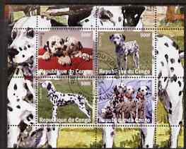Congo 2008 Dogs #1 (Dalmations) perf sheetlet containing 4 values fine cto used