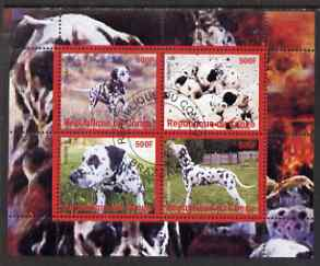 Congo 2008 Dogs #2 (Dalmations) perf sheetlet containing 4 values fine cto used