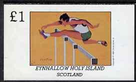 Eynhallow 1981 Hurdling imperf souvenir sheet (�1 value) unmounted mint