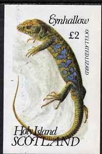 Eynhallow 1983 Ocellated Lizard imperf deluxe sheet (�2 value) unmounted mint