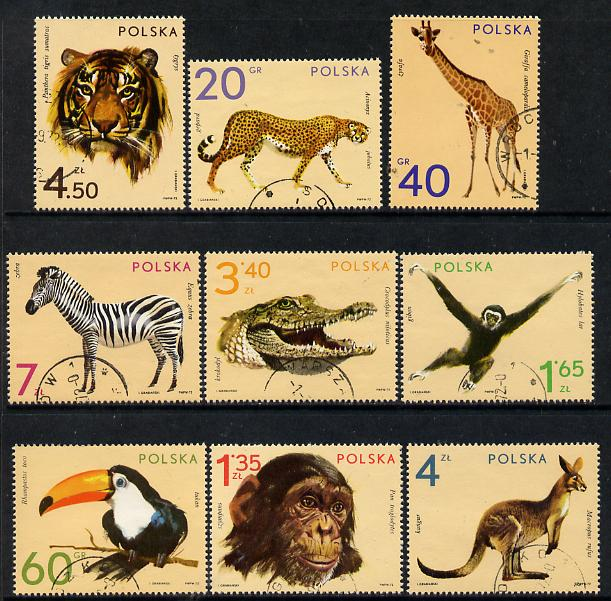 Poland 1972 Zoo Animals set of 9 cto used, SG 2147-55, stamps on animals    zoo    cats, stamps on  zoo , stamps on zoos, stamps on