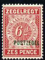 Transvaal 1895 6d rose Fiscal stamp overprinted for Postal use unmounted mint, SG 215