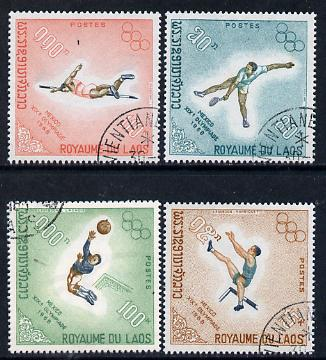 Laos 1968 Mexico Olympics perf set of 4 cto used (Hurdling, Tennis, Football, High-Jump) SG 252-55
