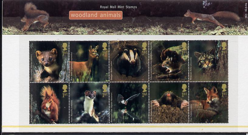 Great Britain 2004 Woodland Animals perf se-tenant block of 10 values in official presentation pack unmounted mint SG 2479a