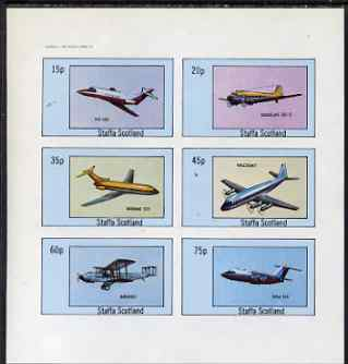 Staffa 1982 Aircraft #7 imperf set of 6 values unmounted mint, stamps on aviation, stamps on douglas, stamps on boeing, stamps on viscount, stamps on  bae , stamps on
