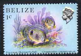 Belize 1984-88 Butterflyfish 1c def perf single with fine downward shift of black & yellow (Queen with white aura and blurred fish) unmounted mint, SG 766var
