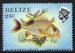 Belize 1984-88 Blue-striped Grunt 25c def perf single with fine downward shift of black & yellow (Queen with white aura and doubled fish) unmounted mint, SG 774var