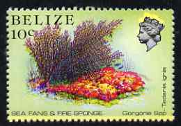 Belize 1984-88 Sea Fans & Fire Sponge 10c def perf single with fine upward shift of blue (Queen with yellow aura) unmounted mint, SG 772var