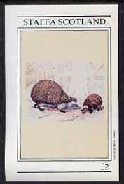 Staffa 1981 Hedgehogs imperf deluxe sheet (�2 value) unmounted mint