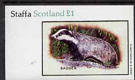 Staffa 1983 Badger imperf souvenir sheet (�1 value) unmounted mint