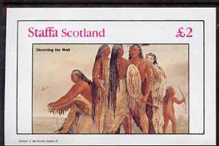 Staffa 1982 N American Indians #05 imperf deluxe sheet (�2 value - Deceiving the Wolf) unmounted mint