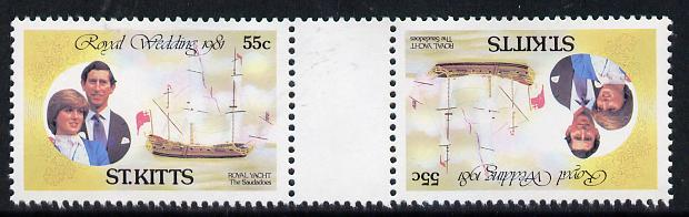 Booklet - St Kitts 1981 Royal Wedding 55c (Royal Yacht Saudadoes) in unmounted mint tete-beche pair from uncut booklet pane, SG 82var scarce thus