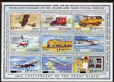 Guyana 1992 Anniversaries opt in black (Albertville Olympics) on sheetlet of 9 (150th Anniversary of Penny Black and Thurn & Taxis Postal Anniversary - Mail Transport) unmounted mint