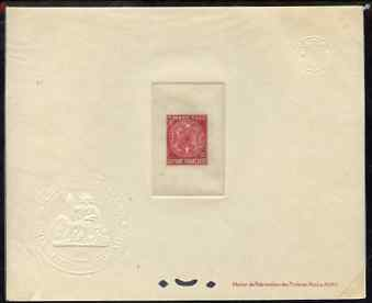 French Guiana 1947 Postage Due 10c carmine Epreuves deluxe proof sheet in issued colour with Official French Colonies impressed die stamp (from very limited printing) bei...