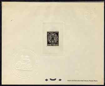 French Guiana 1947 Postage Due 50c black Epreuves deluxe proof sheet in issued colour with Official French Colonies impressed die stamp (from very limited printing) being...