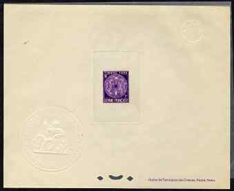 French Guiana 1947 Postage Due 3f bright-violet Epreuves deluxe proof sheet in issued colour with Official French Colonies impressed die stamp (from very limited printing...