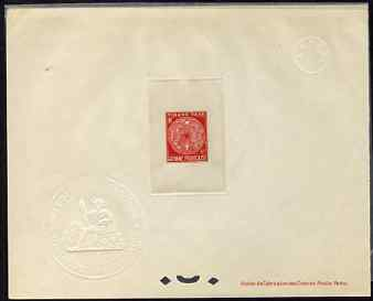 French Guiana 1947 Postage Due 4f rose-red Epreuves deluxe proof sheet in issued colour with Official French Colonies impressed die stamp (from very limited printing) bei...