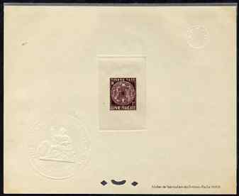 French Guiana 1947 Postage Due 5f purple Epreuves deluxe proof sheet in issued colour with Official French Colonies impressed die stamp (from very limited printing) being...