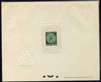 French Guiana 1947 Postage Due 10f emerald Epreuves deluxe proof sheet in issued colour with Official French Colonies impressed die stamp (from very limited printing) bei...