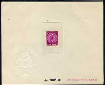 French Guiana 1947 Postage Due 20f bright purple Epreuves deluxe proof sheet in issued colour with Official French Colonies impressed die stamp (from very limited printin...