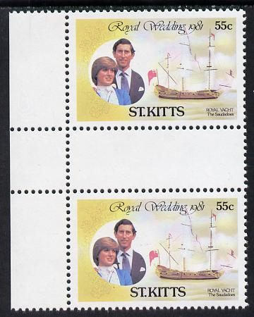 St Kitts 1981 Royal Wedding 55c (Royal Yacht Saudadoes) in unmounted mint inter-paneau gutter pair from uncut sheets, SG 82var scarce thus