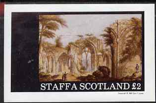 Staffa 1981 Painting of Church Ruins imperf deluxe sheet (�2 value) unmounted mint
