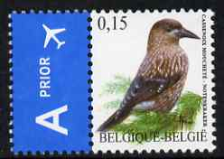 Belgium 2002-09 Birds #5 Spotted Nutcracker 0.15 Euro unmounted mint se-tenant with Priority Label SG 3694c
