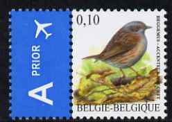 Belgium 2002-09 Birds #5 Hedge Sparrow (Dunnock) 0.10 Euro unmounted mint se-tenant with Priority Label SG 3694b