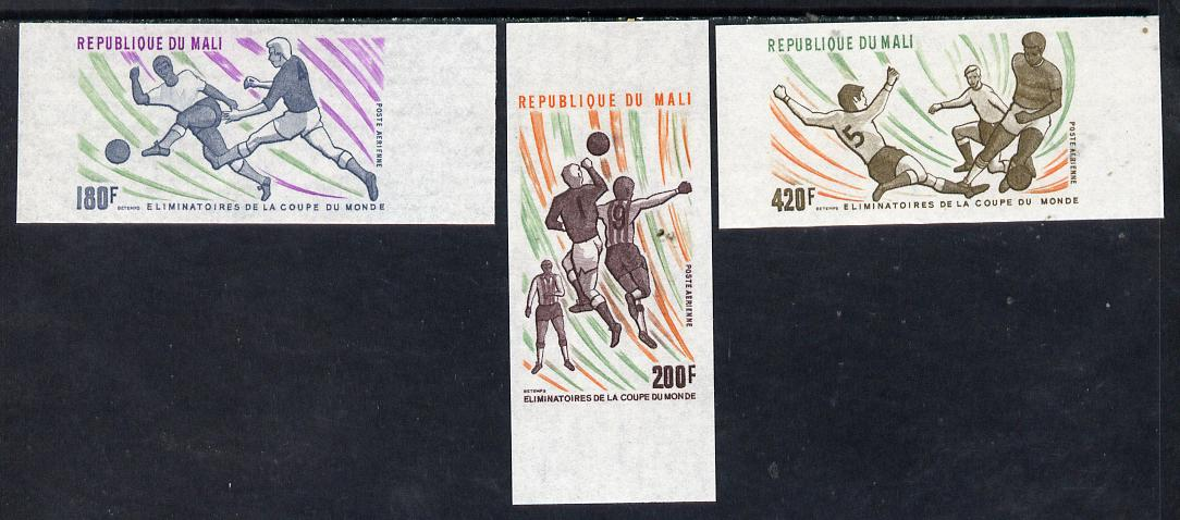 Mali 1977 Football World Cup Elimination imperf set of 3 from limited printing unmounted mint, as SG 605-07