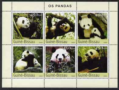 Guinea - Bissau 2003 Pandas perf sheetlet containing 6 x 450 values unmounted mint Mi 2590-95