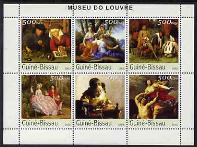 Guinea - Bissau 2003 The Louvre Museum perf sheetlet containing 6 x 500 values unmounted mint Mi 2694-99